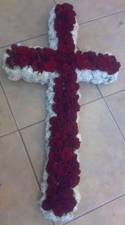 Special White & Red roses Cross.. from the heart.