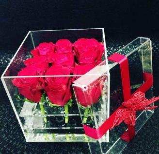 Red Rose Glass Box