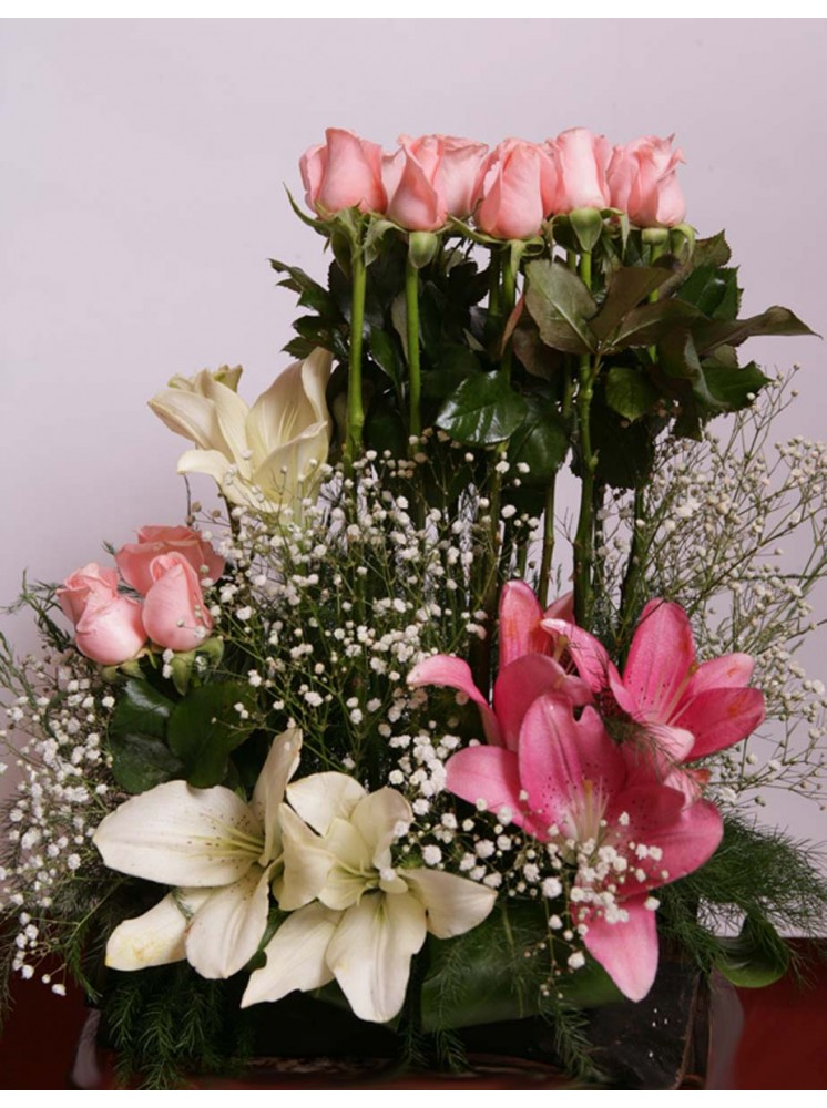 Pink And White Roses N Lilies Flowers In Jordan Delivery Send Orchids Flowers